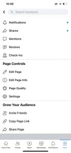 facebook page more setting